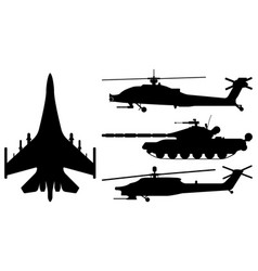fighter aircraft tank helicopter silhouette vector image