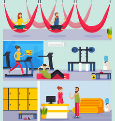 fitness training people orthogonal composition vector image