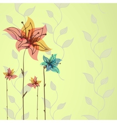Floral hand-drawn background vector image vector image