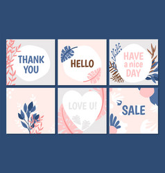 floral trendy cards template vector image