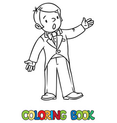 Funny singer or vocalist coloring book vector