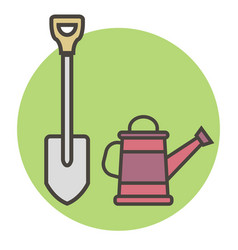 Garden supplies shovel and watering can vector