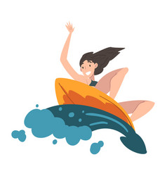Girl surfer riding on ocean wave extreme hobor vector