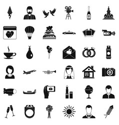 Great wedding icons set simple style vector