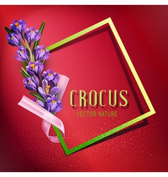 Greeting card with blue crocuses vector