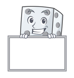 Grinning with board dice character cartoon style vector