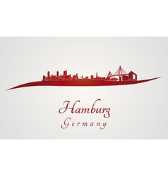 Hamburg skyline in red vector image