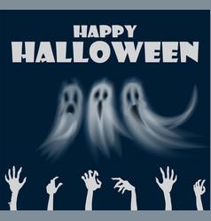 Happy halloween hands and ghosts poster vector