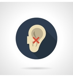 Hear impairment round flat color icon vector image