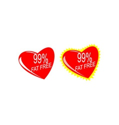 Heart with 99 Fat Free Sign vector image
