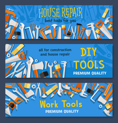 House repair work tools banners set vector