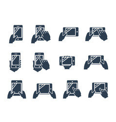 icon set hands holding smartphone and tablet vector image