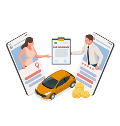 Insurance policy isometric car services vector