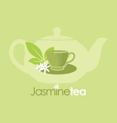 jasmine tea organic drink logo vector image