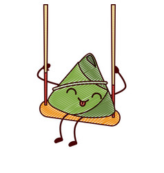 kawaii happy rice dumpling in swing play cartoon vector image
