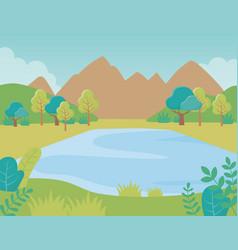 landscape lake mountains trees foliage nature vector image