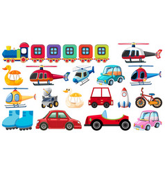 Large set different transportations on white vector