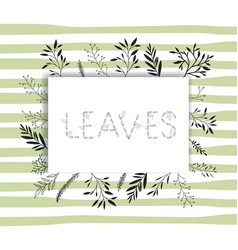 leaves word with handmade font and floral vector image
