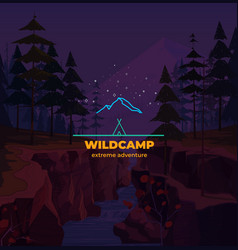 linear mountain camping badge in background vector image