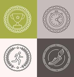 Linear runnig badges vector