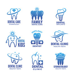 logotypes with of teeth and place vector image