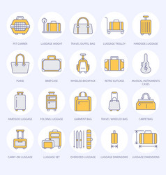 luggage flat line icons carry-on hardside vector image