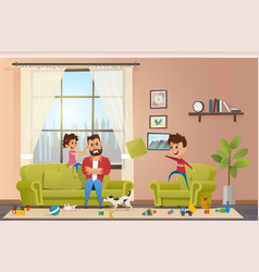 mad father at home with naughty children vector image