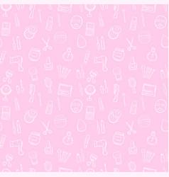makeup seamless pattern background set vector image