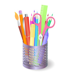 metal box with stationery and drawing tools vector image