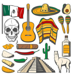 Mexican cinco de mayo fiesta sketch icons vector