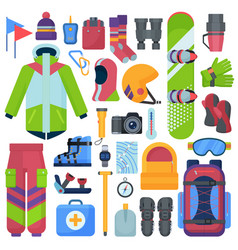 mountain snowboarding equipment icons set vector image