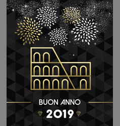 new year 2019 rome colosseum travel gold vector image