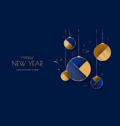 new year greeting card design with christmas ball vector image