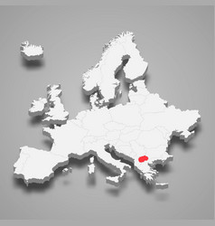 north macedonia country location within europe 3d vector image