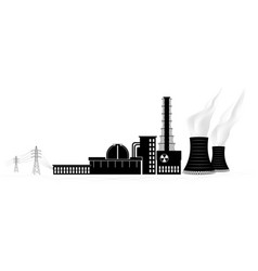 Nuclear power plant silhouette non-renewable vector
