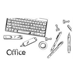 Office desk banner line art keyboard and vector