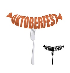 Oktoberfest Text in form of sausages on a fork vector image