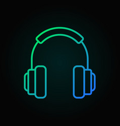 On-ear headphones colorful icon in thin vector