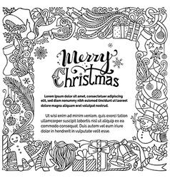 Ornate Merry Christmas doodles frame vector