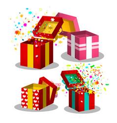 paper gift boxes set open present box symbols vector image