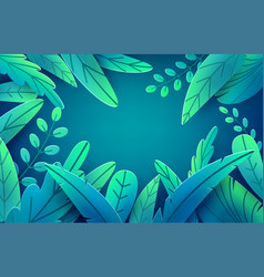 paper spring leaves banner paper cut style vector image