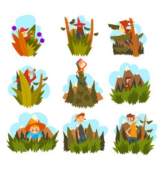 people against the backdrop of nature set vector image