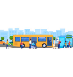 people at bus stop disabled passenger in vector image