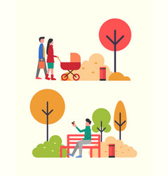 People walking in autumn park family with pram vector