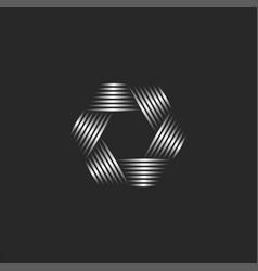 Photographer logo abstract lens aperture hexagon vector