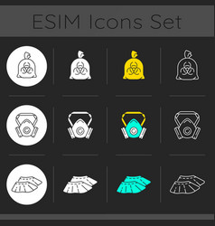 protective medical equipment dark theme icons set vector image