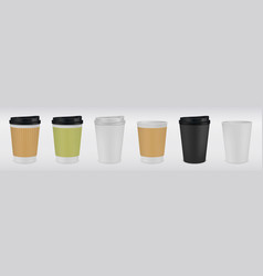 realistic paper coffee cup white and brown 3d mug vector image