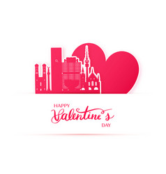 Red heart and silhouette of munich city paper vector