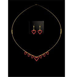 Red heart necklace set vector image