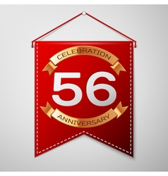 Red pennant with inscription Fifty six Years vector